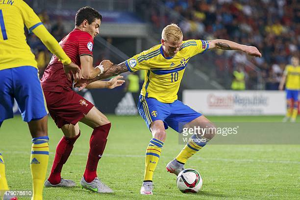 Tiago Ilori of Portugal John Guidetti of Sweden during the UEFA European Under21 Championship final match between Sweden and Portugal on June 30 2015...