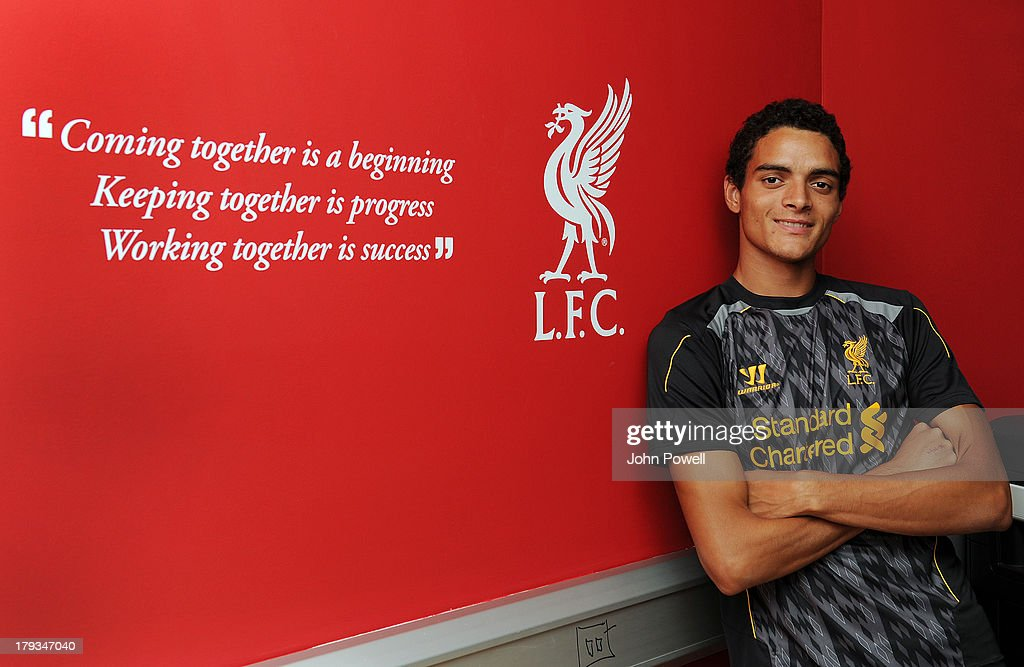 Tiago Ilori signs a contract for Liverpool Football Club at Melwood Training Ground on September 31, 2013 in Liverpool, United Kingdom.
