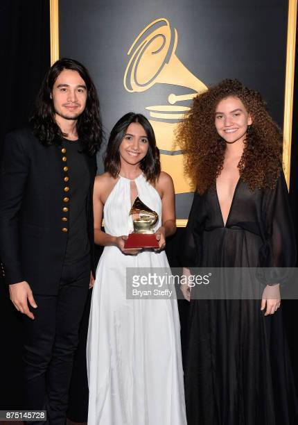 Tiago Iorc Ana Caetano and Vitoria Falcao winners of Best Song in the Portuguese Language for 'Trevo ' attend the Premiere Ceremony during the 18th...