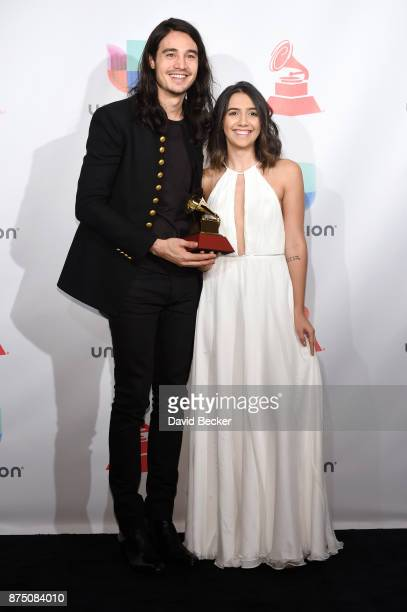 Tiago Iorc and Ana Clara Caetano pose in the press room during The 18th Annual Latin Grammy Awards at MGM Grand Garden Arena on November 16 2017 in...