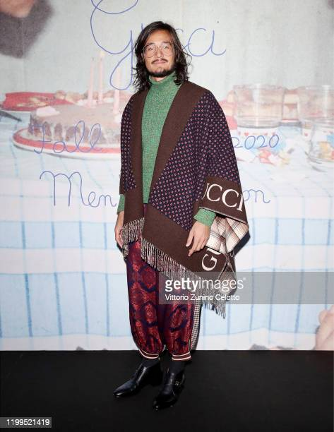 Tiago Iorc arrives at the Gucci show during Milan Menswear Fashion Week Fall/Winter 2020/21 on January 14 2020 in Milan Italy