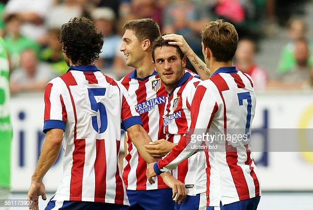 Tiago, Koke, Antoine Griezmann, Jubel, Freude, Emotion , Atletico Madrid, Testspiel Freundschaftsspiel, Spanien Primera DivisionL, Sport, Fußball...
