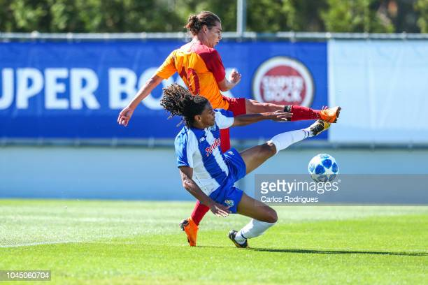 Tiago Lopes of FC Porto vies with Mutlu Aksu Dogan of Galatasaray for the ball possession during the Group D match of the UEFA Champions League...