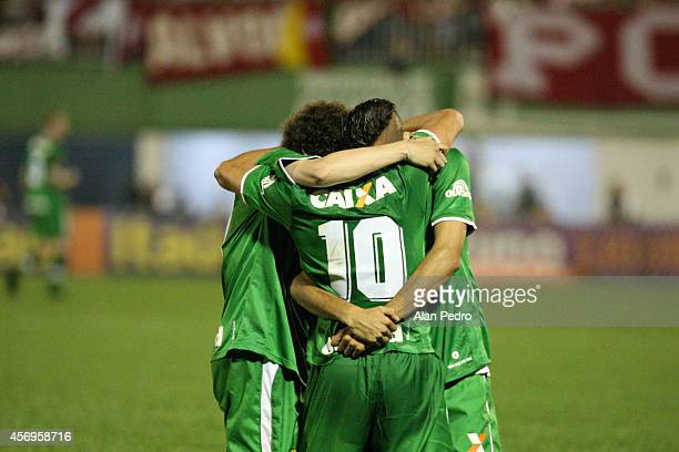 Tiago Luis and Camilo of Chapecoense celebrates a scored goal during a match between Chapecoense and Internacional for the Brazilian Series A 2014 at...