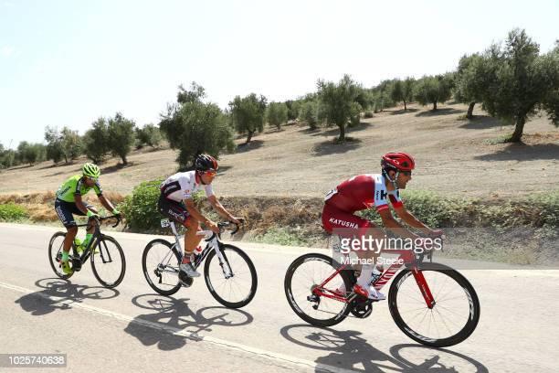 Tiago Machado of Portugal and Team Katusha Alpecin / Jorge Cubero of Spain and Team Burgos BH / Hector Saez of Spain and Team Euskadi Murias / during...