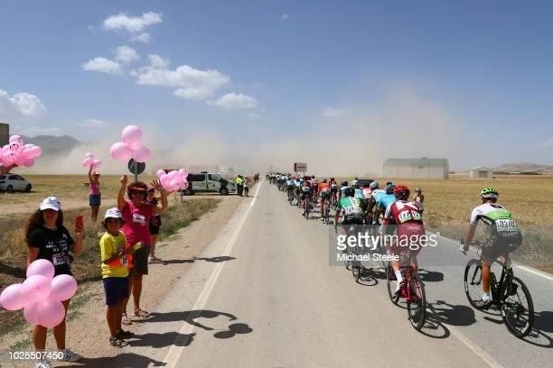 Tiago Machado of Portugal and Team Katusha Alpecin / Steven Cummings of Great Britain and Team Dimension Data / Peloton / Fans / Public / Children /...