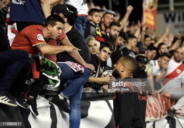 Tiago Manuel Dias alias 'Bebe' of Rayo Vallecano de Madrid talks to a Rayo fan at the end of the La Liga match between Rayo Vallecano de Madrid and...