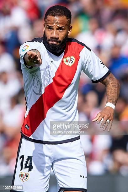 Tiago Manuel Dias 'Bebe' of Rayo Vallecano reacts during the La Liga match between Rayo Vallecano de Madrid and Getafe CF at Campo de Futbol de...