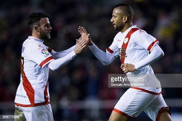 Tiago Manuel Dias Correia alias Bebe of Rayo Vallecano de Madrid celebrates scoring their second goal with teammate Joaquin Jose Marin alias Quini...
