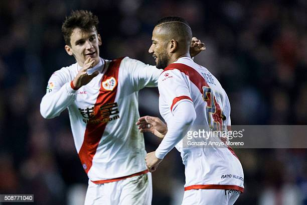 Tiago Manuel Dias Correia alias Bebe of Rayo Vallecano de Madrid celebrates scoring their second goal with teammate Diego Llorente during the La Liga...