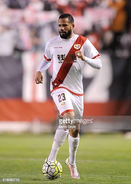 Tiago Manuel Dias Correia Bebe of Rayo Vallecano de Madrid in action during the La Liga match between Rayo Vallecano and Getafe CF at Estadio de...
