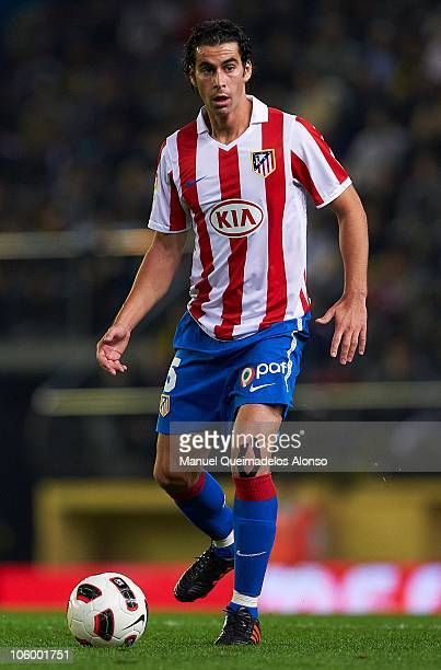 Tiago Mendes of Atletico de Madrid in action during the La Liga match between Villarreal and Atletico de Madrid at El Madrigal on October 24 2010 in...