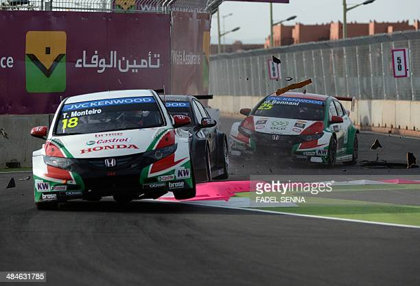 Tiago Monteiro in his Honda civic competes during the Marrakech WTCC Fia World Touring Car championship race on April 13 in Marrakesh AFP PHOTO /...