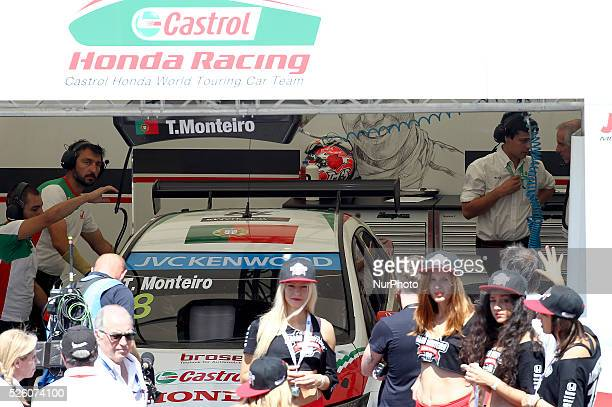 Tiago Monteiro in Honda Civic WTCC of Castrol Honda WTC Team during the FIA WTCC 2015 Service Park at Vila Real in Portugal on July 11 2015