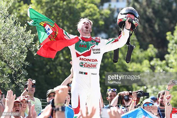 Tiago Monteiro in Honda Civic WTCC of Honda Racing Team JAS celebrates the victory of the second race during FIA WTCC 2016, at Vila Real in Portugal,...