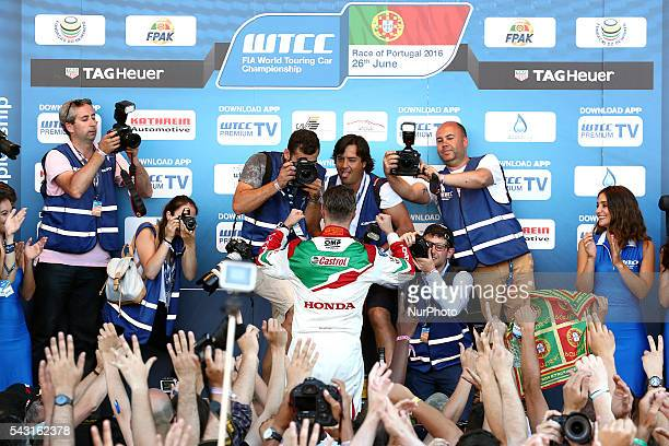 Tiago Monteiro in the podium ceremony during FIA WTCC 2016, at Vila Real in Portugal, on June 25, 2016.
