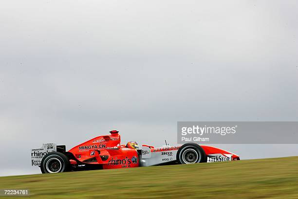 Tiago Monteiro of Portugal and Spyker F1 Racing drives in the practice round before the qualifying session of the Brazilian Formula One Grand Prix at...