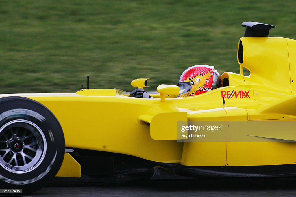 Tiago Monteiro of Portugal in action in the Jordan during Formula One Testing at Silverstone Circuit, February 22, 2005 in Silverstone, England.