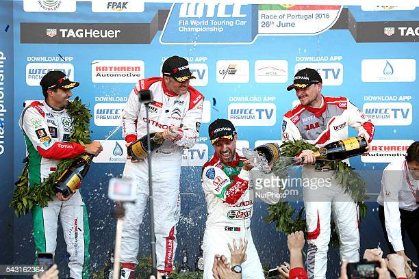 Tiago Monteiro , Yvan Muller , Norbert Michelisz and Mehdi Bennani in the podium ceremony during FIA WTCC 2016, at Vila Real in Portugal, on June 25,...