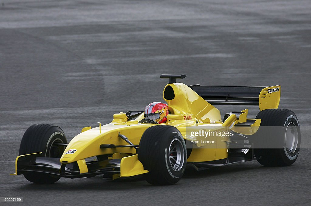 Tiago Monterio of Portugal drives the Jordan during Formula One Testing at Silverstone Circuit on February 22, 2005 in Silverstone, England.