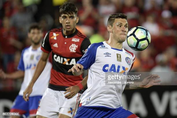 Tiago of Bahia in action during the match between Flamengo and Bahia as part of Brasileirao Series A 2017 at Ilha do Urubu Stadium on October 19...