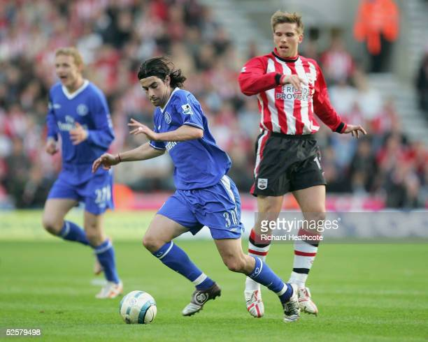 Tiago of Chelsea takes the ball away from Anders Svensson of Southampton during the FA Barclays Premiership match between Southampton and Chelsea...