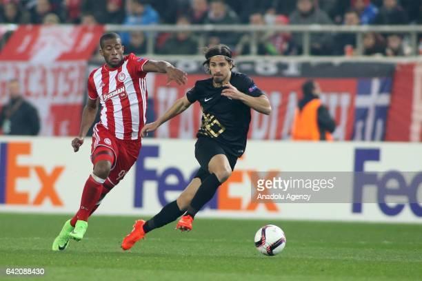 Tiago Pinto of Osmanlispor in action during UEFA Europa League soccer match between Olympiacos FC and Osmanlispor at Georgios Karaiskakis Stadium in...