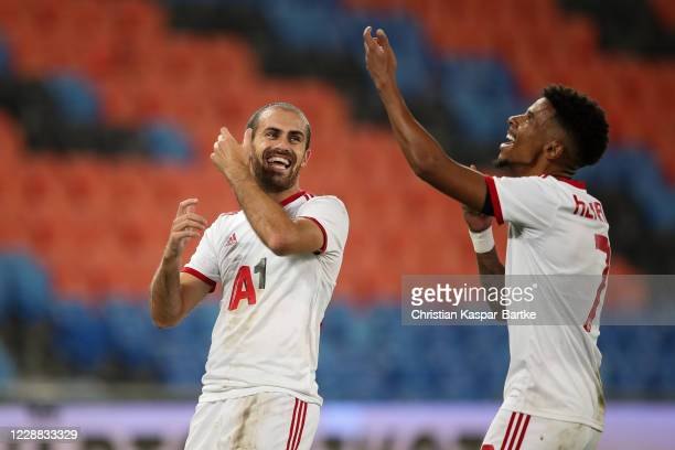 Tiago Rodrigues of ZSKA Sofia celebrates after scoring his team`s second goal with team mate Henrique of ZSKA Sofia during the UEFA Europa League...