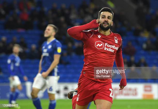 Tiago Silva of Forest celebrates after scoring the opening goal during the Sky Bet Championship match between Cardiff City and Nottingham Forest at...