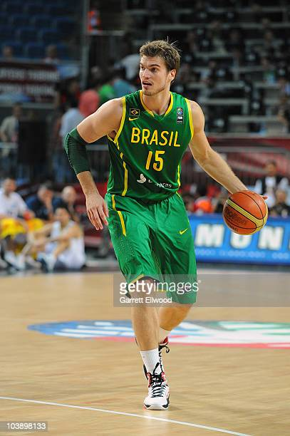 Tiago Splitter of Brazil brings the ball up court during the game against Argentina at the 2010 World Championships of Basketball on September 7,...