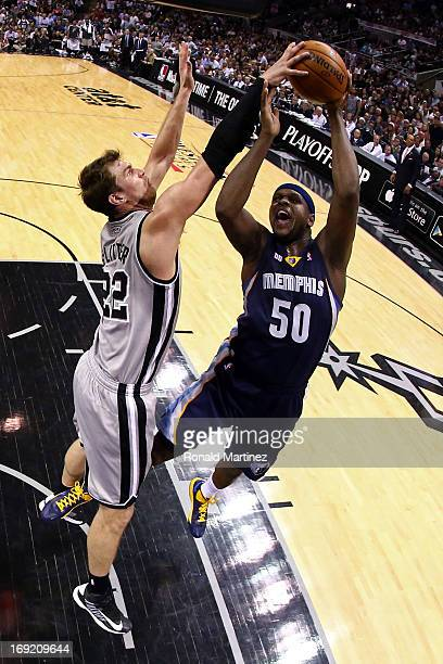 Tiago Splitter of the San Antonio Spurs blocks a shot attempt by Zach Randolph of the Memphis Grizzlies in the first half during Game Two of the...