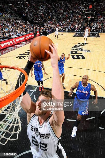 Tiago Splitter of the San Antonio Spurs dunks the ball during the game between the Los Angeles Clippers and the San Antonio Spurs on March 29 2013 at...