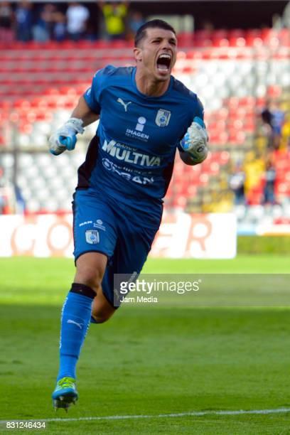 Tiago Volpi Goalkeeper of Queretaro celebrates his team second goal during the 4th round match between Queretaro and Morelia as part of the Torneo...