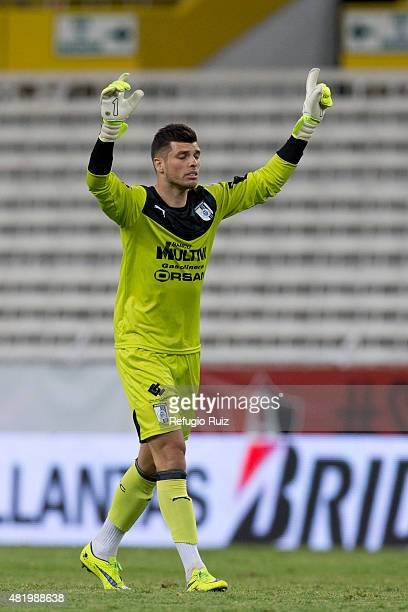 Tiago Volpi goalkeeper of Queretaro celebrates the second goal of his team during a 1st round match between Atlas and Queretaro as part of the...