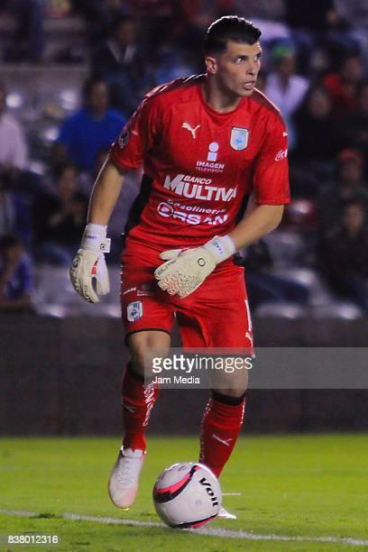 Tiago Volpi goalkeeper of Queretaro drives the ball during the sixth round match between Queretaro and Tijuana as part of the Torneo Apertura 2017...