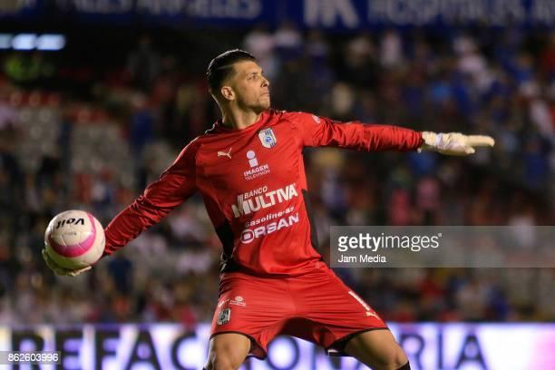 Tiago Volpi goalkeeper of Queretaro prepares to throw he ball during the 10th round match between Queretaro and Cruz Azul as part of the Torneo...