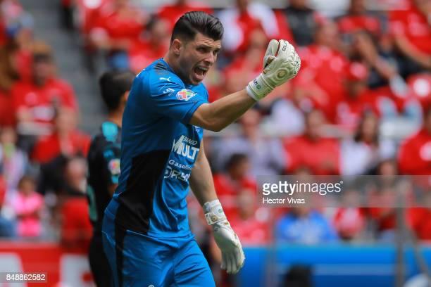Tiago Volpi goalkeeper of Queretaro reacts during the 9th round match between Toluca and Queretaro as part of the Torneo Apertura 2017 Liga MX at...