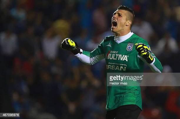 Tiago Volpi of Queretaro celebrates the first goal of his team during a match between Queretaro and Atlas as part of 11th round Clausura 2015 Liga MX...
