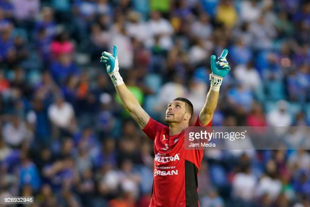Tiago Volpi of Queretaro celebrates the winning goal of his team during the 10th round match between Cruz Azul and Queretaro as part of the Torneo...