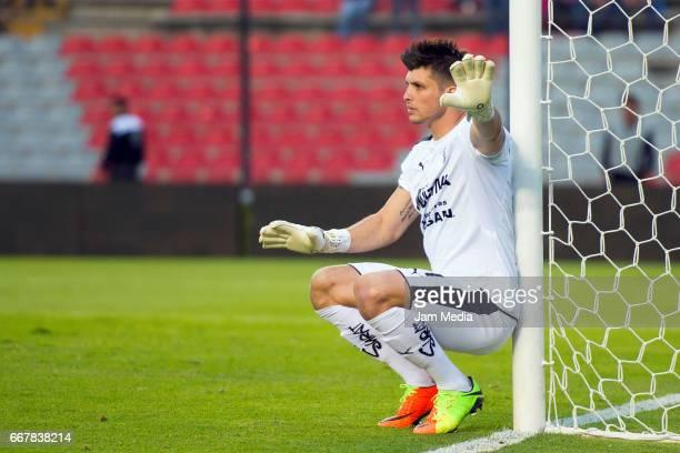 Tiago Volpi of Queretaro gestures during the 10th round match between Queretaro and Tijuana as part of the Clausura Tournament 2017 league Bancomer...