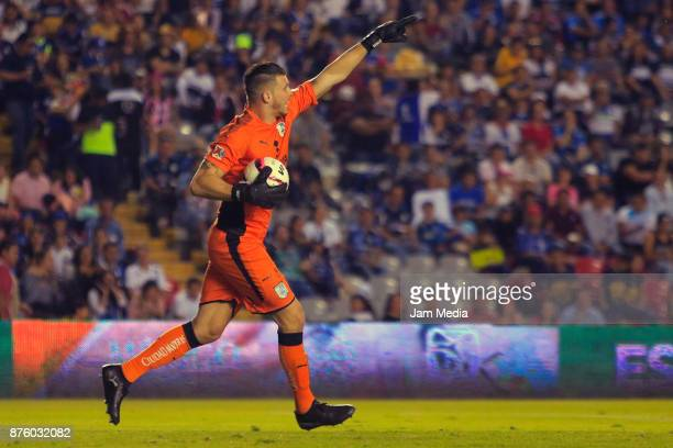 Tiago Volpi of Queretaro gestures during the 17th round match between Queretaro and Pumas UNAM as part of the Torneo Apertura 2017 Liga at La...