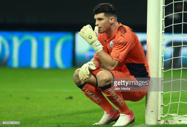 Tiago Volpi of Queretaro looks on during the seventh round match between Chivas and Queretaro as part of the Torneo Apertura 2017 Liga MX at Omnilife...