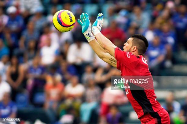 Tiago Volpi of Queretaro rejects the ball during the 10th round match between Cruz Azul and Queretaro as part of the Torneo Clausura 2018 Liga MX at...