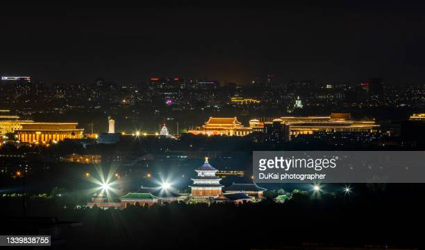 tian 'anmen and temple of heaven in beijing at night - tiananmen square stock pictures, royalty-free photos & images
