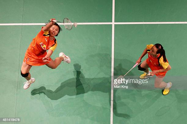 Tian Qing and Zhao Yunlei of China compete in the Womens Doubles Final against Ko Ara and Yoo Have Won of Korea during the Australian Badminton Open...