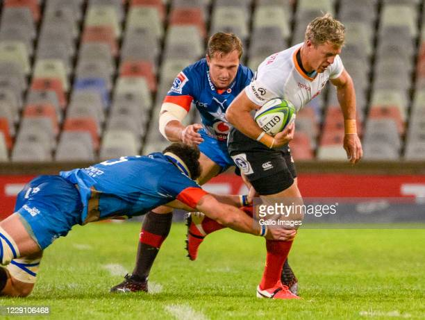 Tian Schoeman of Toyota Cheetahs and Arno Botha of Vodacom Bulls during the Super Rugby Unlocked match between the Toyota Cheetahs and Vodacom Bulls...
