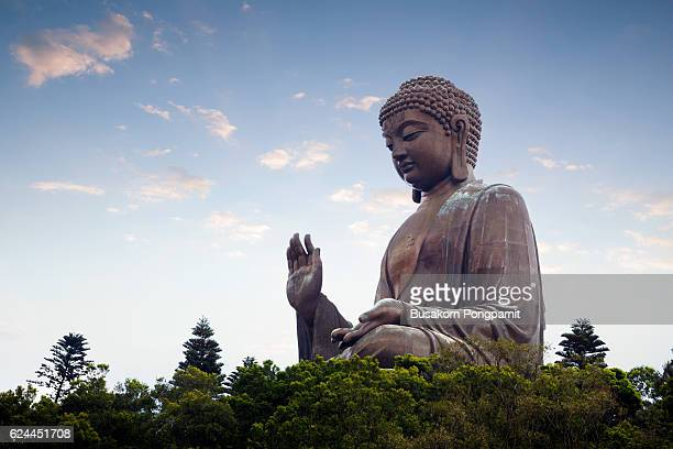 tian tan buddha in the morniing - buddha foto e immagini stock