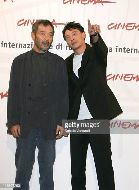 Tian Zhuangzhuang director and Chang Chen during 1st Annual Rome Film Festival 'The Go Master' Photocall in Rome Italy