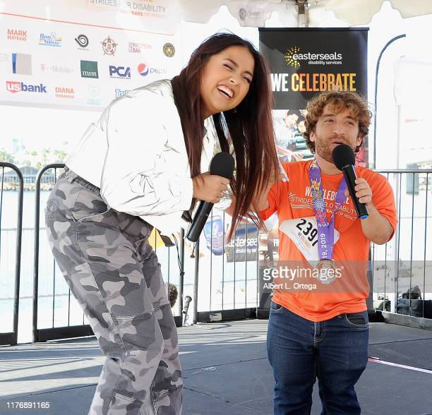Tiana Kocher and Nic Novicki on stage at the 19th Annual Strides For Disability 5K Run held at Shoreline Aquatic Park on October 19 2019 in Long...