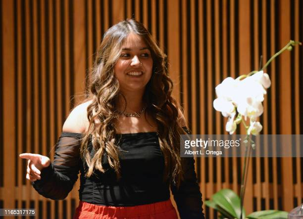 Tiana Kocher introduces songs at the Special Listening Session held at Westlake Recording Studios on August 31 2019 in West Hollywood California